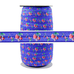 Roses on Sapphire Blue Fold Over Elastic 100yd