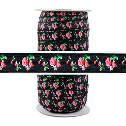 Roses on Black Fold Over Elastic 100yd