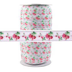 Roses on White Fold Over Elastic 100yd