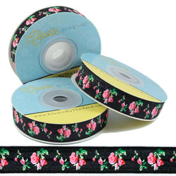 Roses on Black Fold Over Elastic