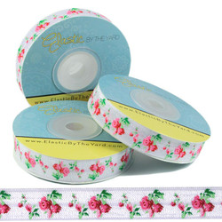 Roses on White Fold Over Elastic