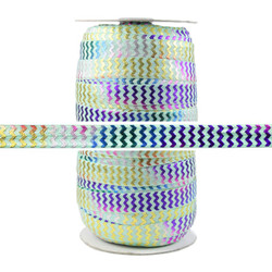 Rainbow Chevron on Mint Fold Over Elastic 100yd