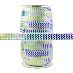 Rainbow Chevron on Mint Fold Over Elastic 100yd