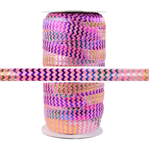 Rainbow Chevron on Pink Fold Over Elastic 100yd