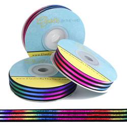 Rainbow Sash on Black Fold Over Elastic