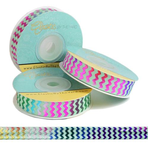 Rainbow Chevron on Mint Fold Over Elastic