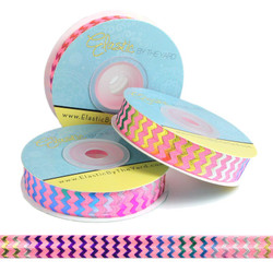 Rainbow Chevron on Pink Fold Over Elastic