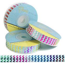 Rainbow Chevron on Aqua Fold Over Elastic