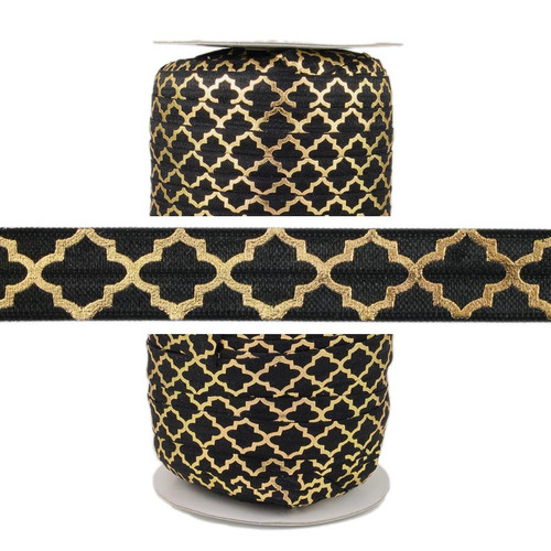 Gold Quatrefoil on Black Fold Over Elastic 100yd