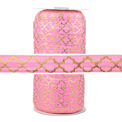 Gold Quatrefoil on Pink Fold Over Elastic 100yd