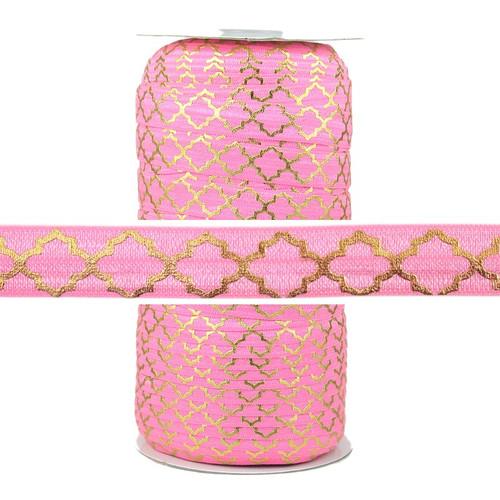 Gold Quatrefoil on Pink Fold Over Elastic 100yd