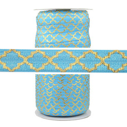 Gold Quatrefoil on Caribbean Sea Fold Over Elastic 100yd