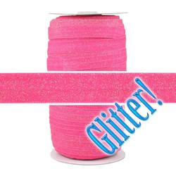 Raspberry Glitter Fold Over Elastic 100yd