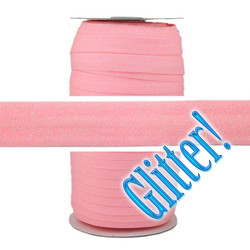 "Pink Glitter 5/8"" Fold Over Elastic 100yd"