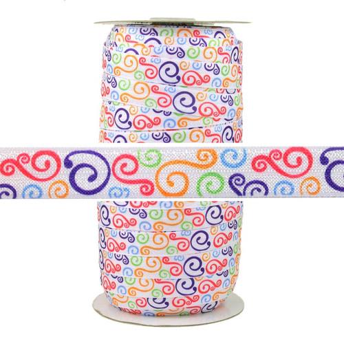 Colorful Swirls Fold Over Elastic 100yd