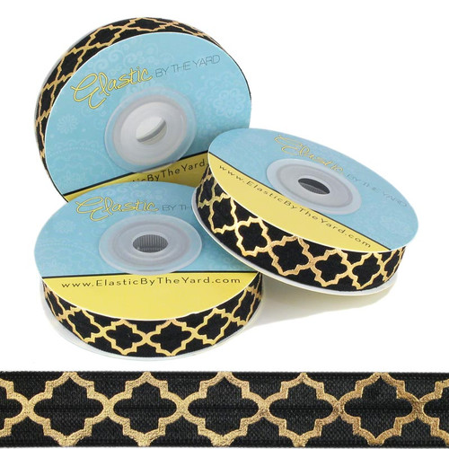 Gold Quatrefoil on Black Fold Over Elastic