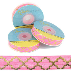 Gold Quatrefoil on Pink Fold Over Elastic