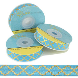 Gold Quatrefoil on Caribbean Sea Fold Over Elastic