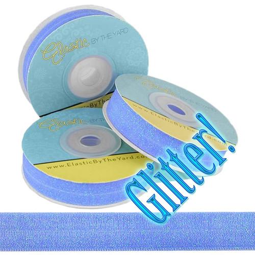 Blue Sky Glitter Fold Over Elastic