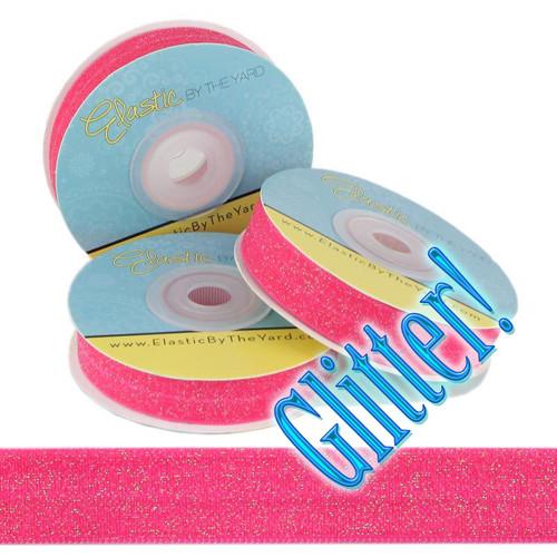 Raspberry Glitter Fold Over Elastic