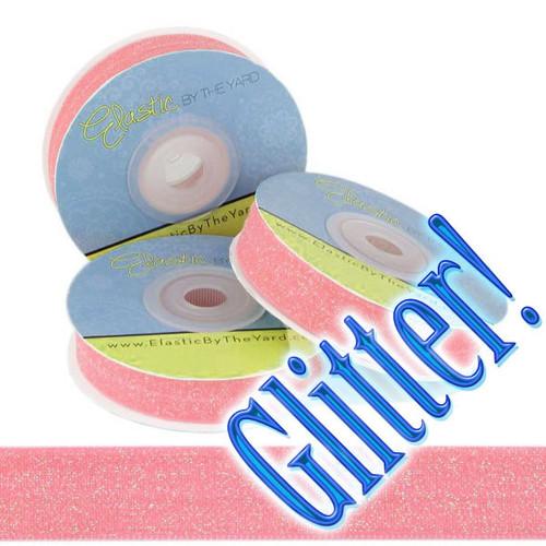 Pink Glitter Fold Over Elastic