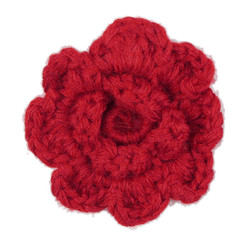 Red Crochet Clip Flower