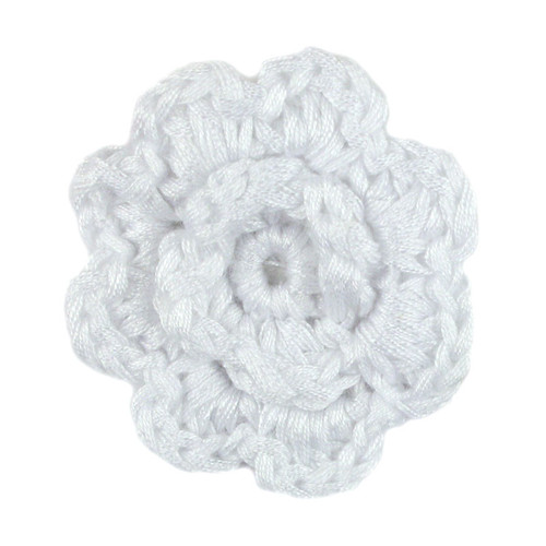 White Crochet Clip Flower