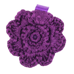 Purple Crochet Clip Flower