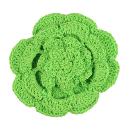 "3"" Four Level Lime Green Crochet Flower"