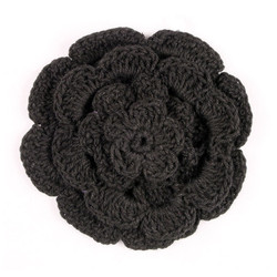"3"" Four Level Black Crochet Flower"