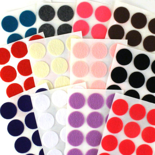"1"" Adhesive - 144 Felt Circles 12 Color Pack"