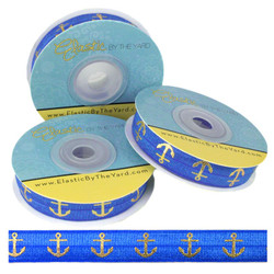 Sapphire Blue Gold Anchors Print Fold Over Elastic