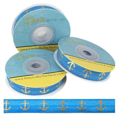 Pacific Blue Gold Anchors Print Fold Over Elastic