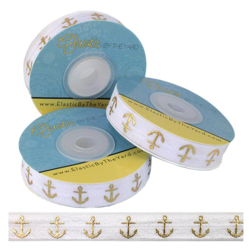 White Gold Anchors Print Fold Over Elastic