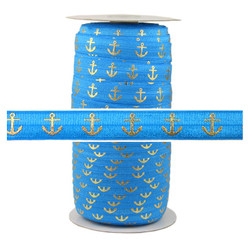 Pacific Blue Gold Anchor Fold Over Elastic 100yd