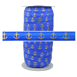 Sapphire Blue Gold Anchor Fold Over Elastic 100yd