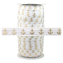 White Gold Anchor Fold Over Elastic 100yd