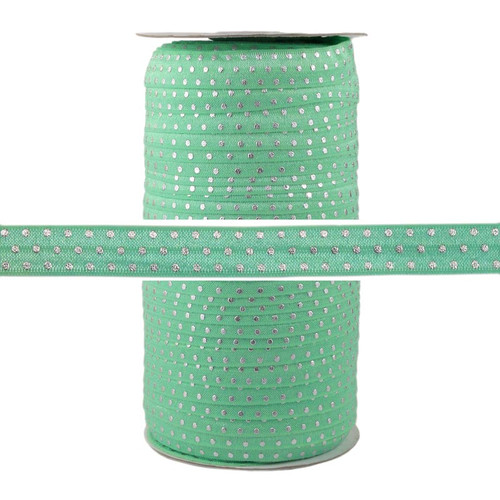 Mint Silver Dots Fold Over Elastic 100yd