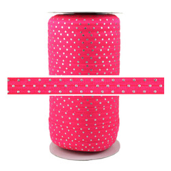 Raspberry Pink Silver Dots Fold Over Elastic 100yd