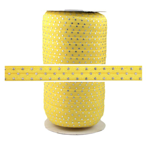 Yellow Silver Dots Fold Over Elastic 100yd