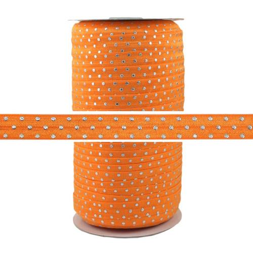 Orange Silver Dots Fold Over Elastic 100yd