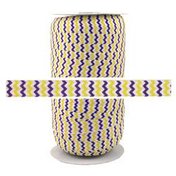 Purple Yellow Chevron Print Fold Over Elastic 100yd