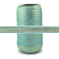Teal Gold Maze Print Fold Over Elastic 100yd