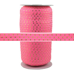 Pink Lemonade Gold Dots Fold Over Elastic 100yd