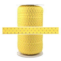 Yellow Gold Dots Print Fold Over Elastic 100yd