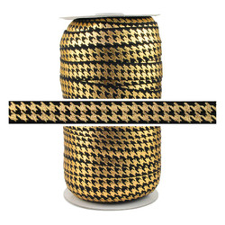 Black Gold Houndstooth Fold Over Elastic 100yd