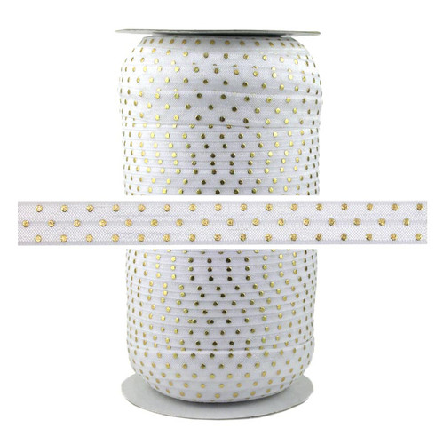 White Gold Dots Print Fold Over Elastic 100yd