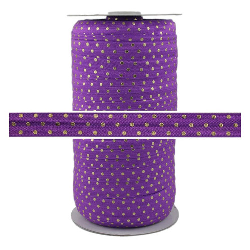 Purple Gold Dots Print Fold Over Elastic 100yd