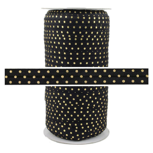 Black Gold Dots Print Fold Over Elastic 100yd