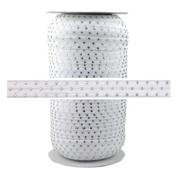 White Silver Dots Print Fold Over Elastic 100yd